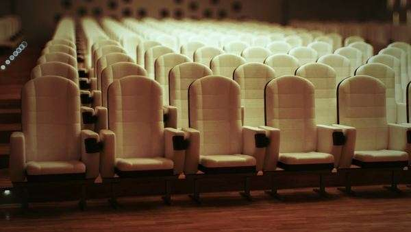 Large empty cinema with comfortable leather seats Royalty-free stock video