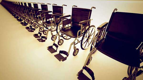 Standard manual wheelchairs are the most frequently used wheelchair Royalty-free stock video
