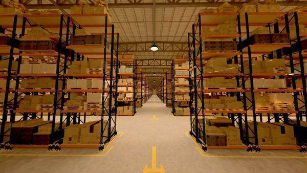 Warehouse interior 3D loopable animation Royalty-free stock video