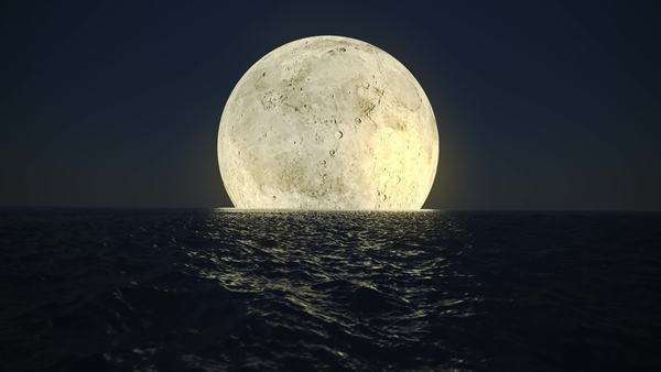 Animation presents bright yellow moon reflecting on the dark surface of the ocean Royalty-free stock video