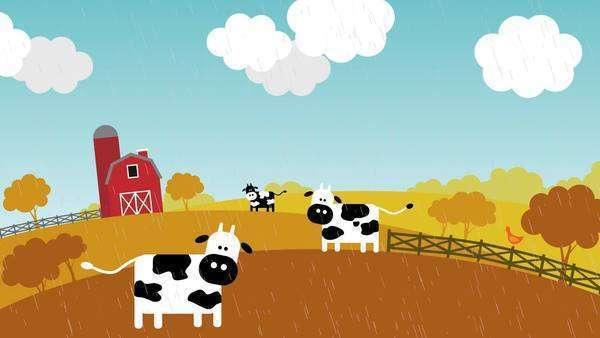 Loopable animation presents the change of seasons on s farm with livestock Royalty-free stock video