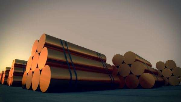 Loopable animation presents stacks of cylindrical copper billets Royalty-free stock video