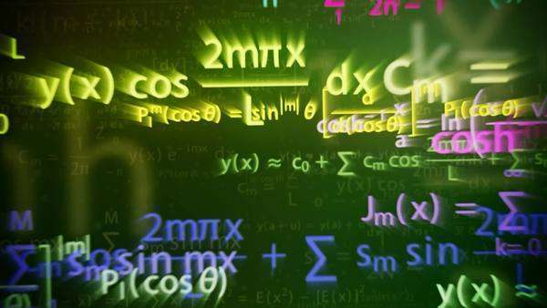 Animation of a chalkboard with colorful math formulas with motion blur effect Royalty-free stock video