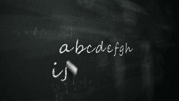 Animation of drawing word alphabet on chalkboard Royalty-free stock video