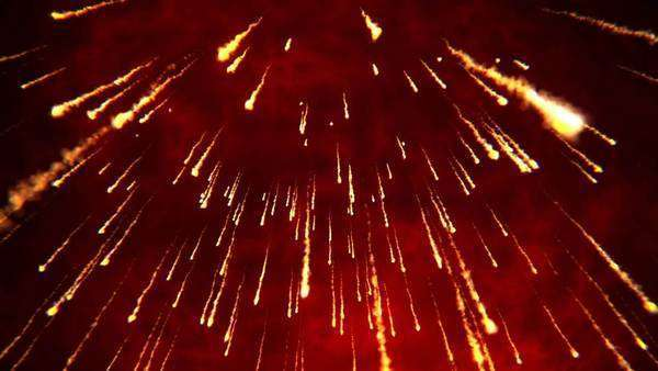 Abstract animation of fire rain during a volcanic eruption Royalty-free stock video