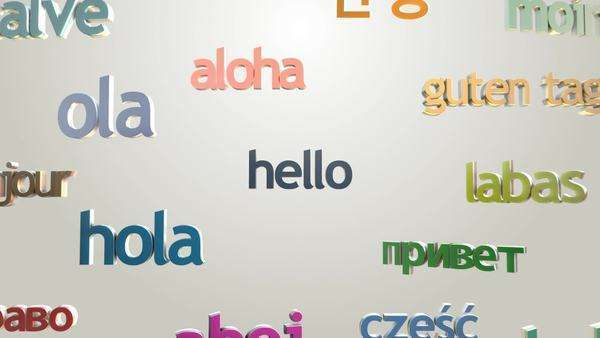 """Hello"" and many languages greetings appear on bright background Royalty-free stock video"