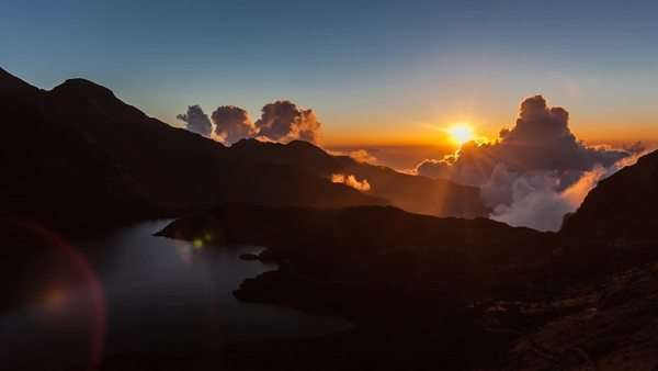 Sunset timelapse of Nepal mountains with lake goes in to silhouette Royalty-free stock video