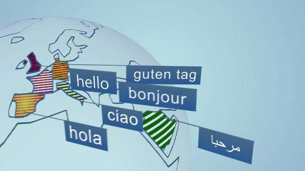 "Word ""hello"" in fourteen widely spoken languages in the World. Colorful scheme representation on globe. Royalty-free stock video"