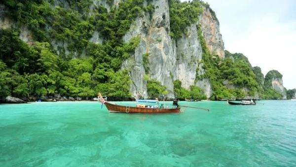 Long tail Boat promenade version used by tourist visiting Phi Phi Island, Andaman Sea, Thailand, Asia Royalty-free stock video