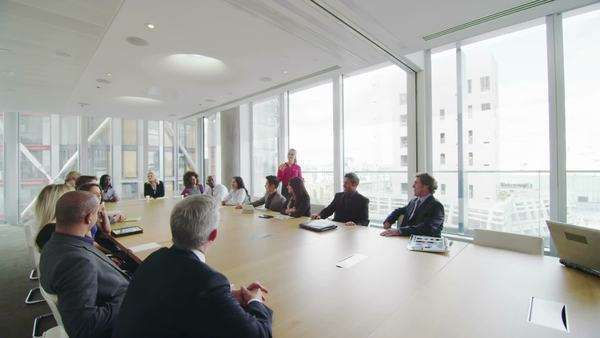 Corporate business team in boardroom meeting in city office Royalty-free stock video