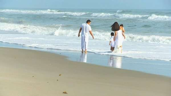 Latin American happy parents playing cute young sons ocean shallows outing to beach. Royalty-free stock video