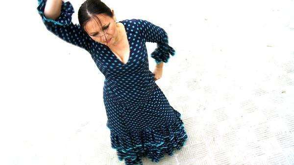 Overhead shot of traditional Spanish flamenco dancer in Seville, Spain 60FPS. Royalty-free stock video
