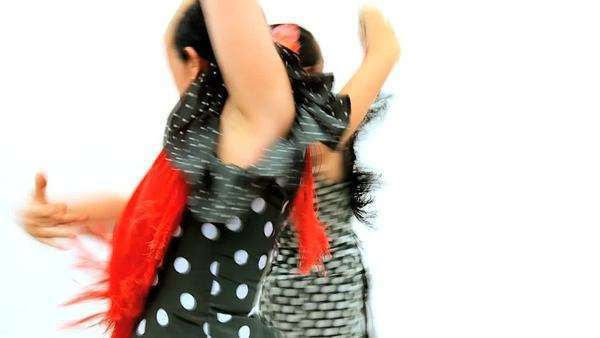 Two ladies dancing dramatic traditional Spanish flamenco, Seville. Royalty-free stock video