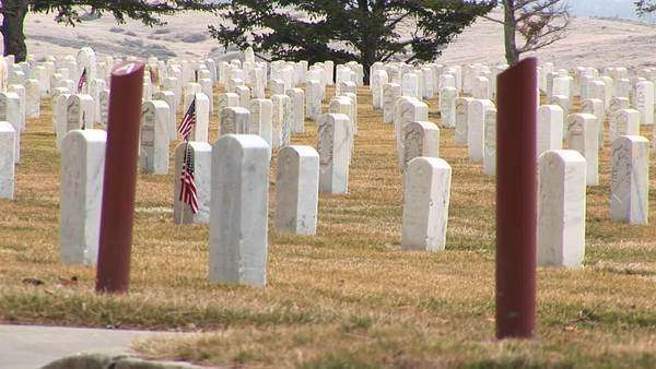 White headstones and section markers adorn Arlington National Cemetery. Royalty-free stock video