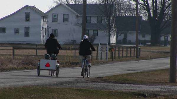 Two young people on bikes pull two very young kids in a child carrier. Royalty-free stock video