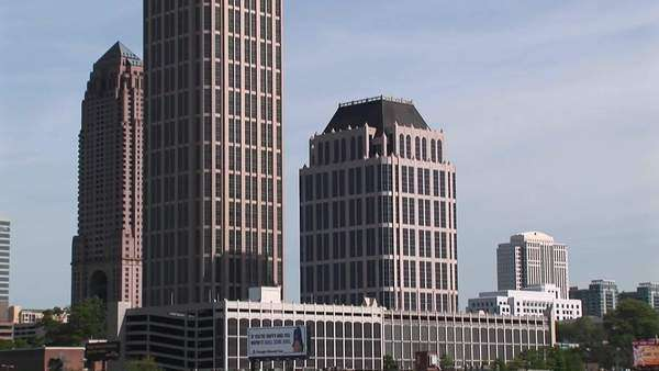 Pan-up to one of Atlanta's tallest buildings. Royalty-free stock video