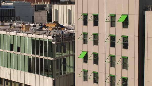 Zoom-in to a green awning on a tall building in Atlanta, Georgia. Royalty-free stock video