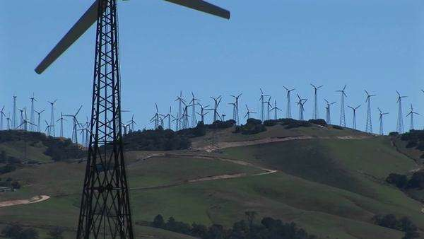 Close-up of one wind turbine on a wind farm at Tehachapi, California. Royalty-free stock video