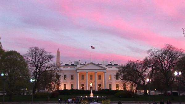 Zoom-in of the White House at golden-hour. Royalty-free stock video
