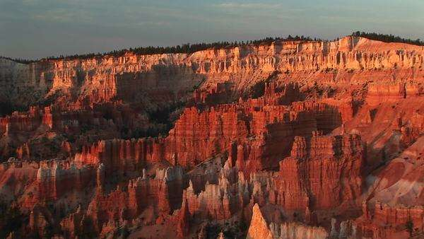 Long shot of Bryce Canyon National Park at golden-hour. Royalty-free stock video