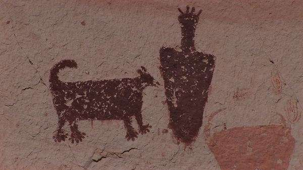 Close-up of an American Indian petroglyph. Royalty-free stock video