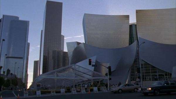 Pan-right of the south side of the Frank Gehry Disney concert hall in Los Angeles, California. Royalty-free stock video