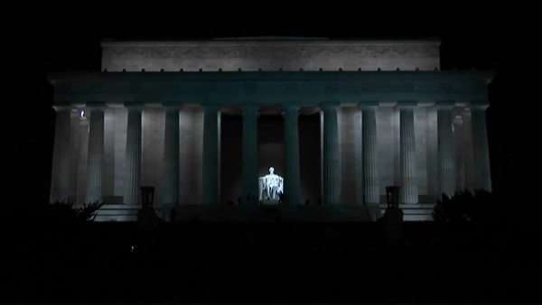Lights illuminate the Lincoln Memorial at night in Washington, D.C. Royalty-free stock video