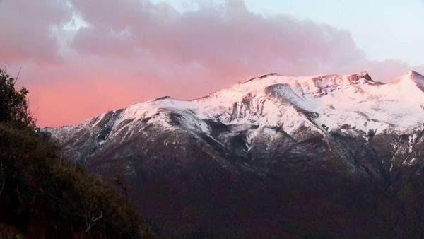 Sunrise over snowy mountains. Royalty-free stock video