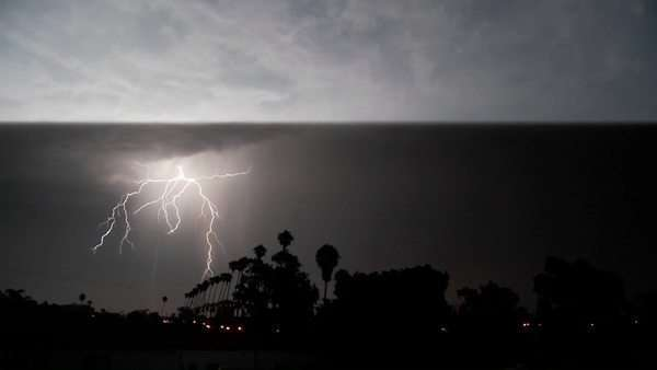 Lightning strikes during a thunderstorm. Royalty-free stock video