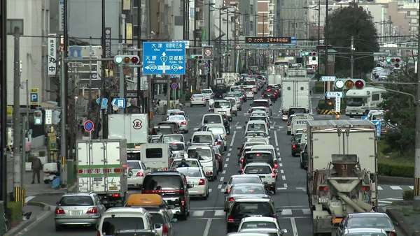 Rush hour traffic jam in Kyoto Japan. Royalty-free stock video