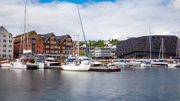 View of a marina in Tromso, North Norway timelapse. Royalty-free stock video