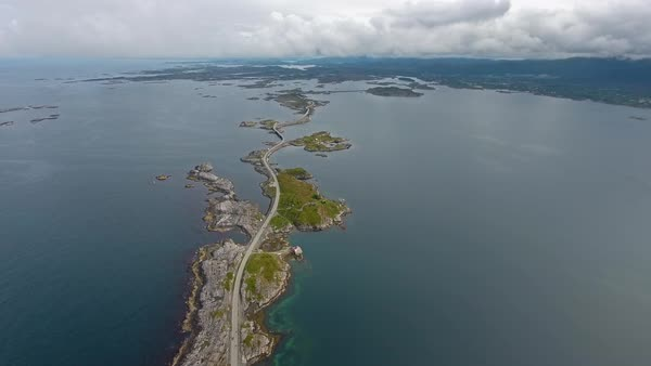 Atlantic Ocean Road or the Atlantic Road (Atlanterhavsveien) been awarded the title as (Norwegian Construction of the Century) Royalty-free stock video