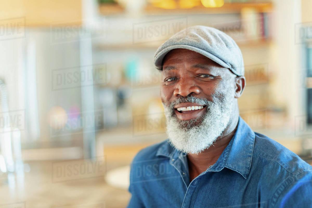 Portrait happy, smiling man with white beard Royalty-free stock photo