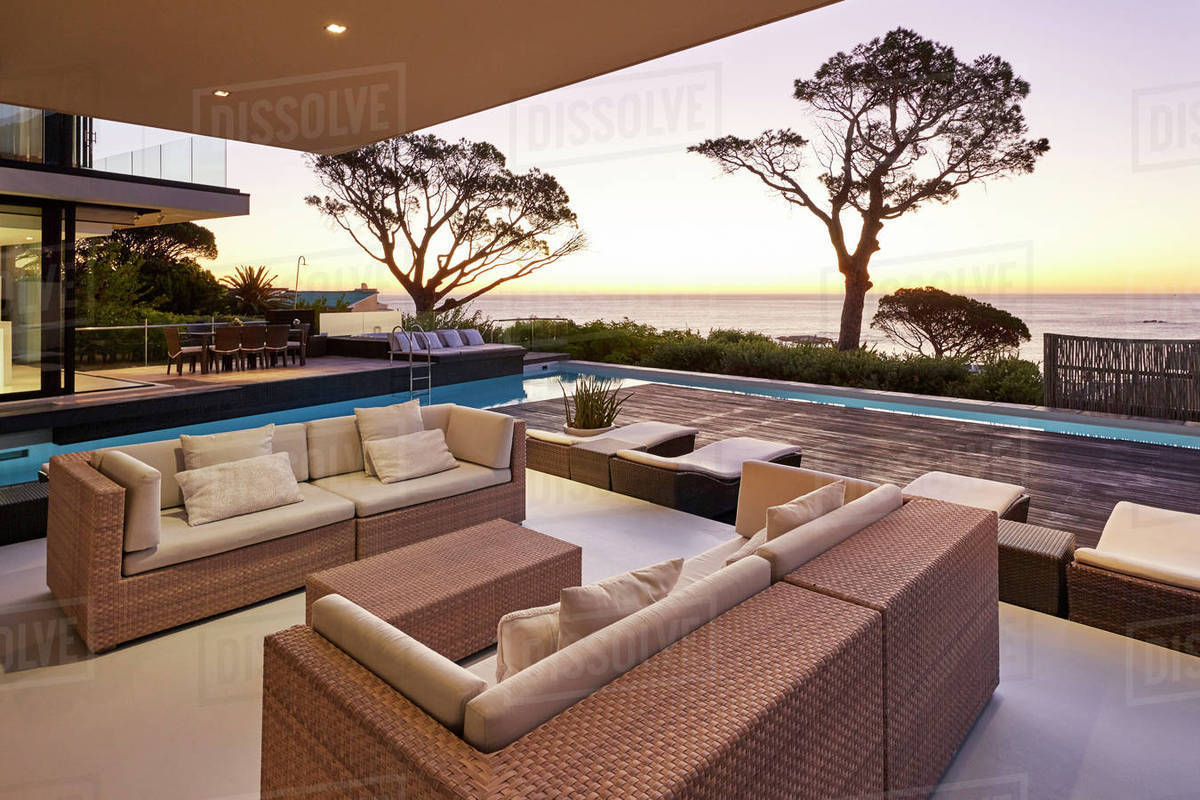 Modern luxury home showcase patio and swimming pool overlooking