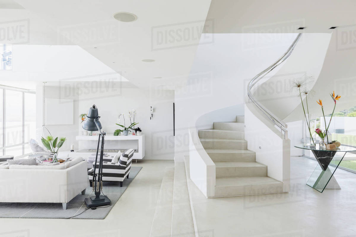 White Modern Luxury Home Showcase Spiral Staircase And Living Room