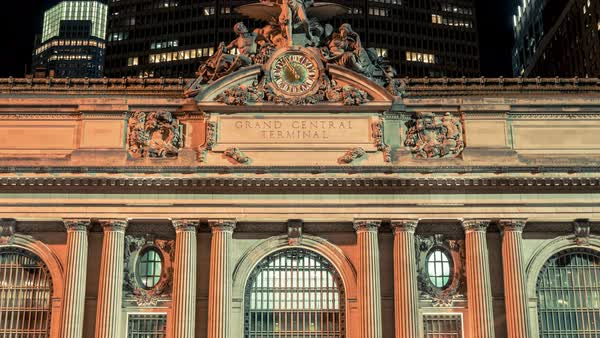 Grand Central Terminal | New York City | 4K hyperlapse sequence shot at night in New York City. Royalty-free stock video