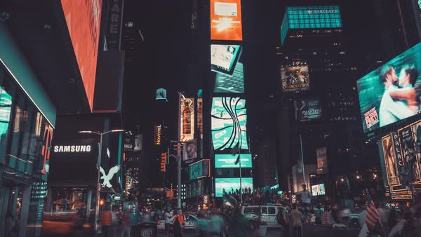 Times Square at Night | New York City | 4K hyperlapse shot at Night in New York Citty. Royalty-free stock video