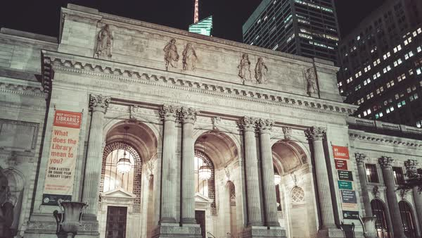 New York Public Library | 4K Hyperlapse sequence shot in New York City at night. Royalty-free stock video