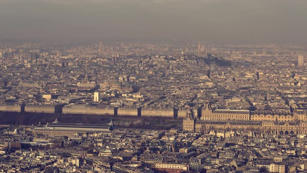 Paris, France - Aerial view of the Louvre museum Royalty-free stock video