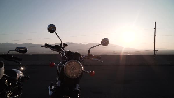 Medium shot of two motorcycles Royalty-free stock video