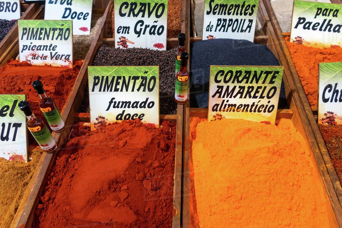 Spices in bulk market in the Algarve, Portugal Royalty-free stock photo