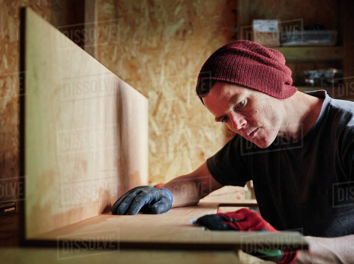 Carpenter working in shed Royalty-free stock photo