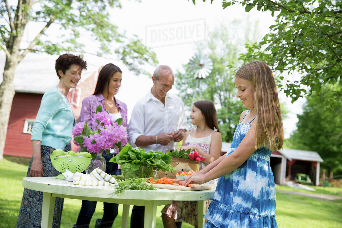 A Summer Family Gathering At Farm Five People Gathered Around Table Preparing Fresh Salads And Fruit For Party Two Girls One Young Woman
