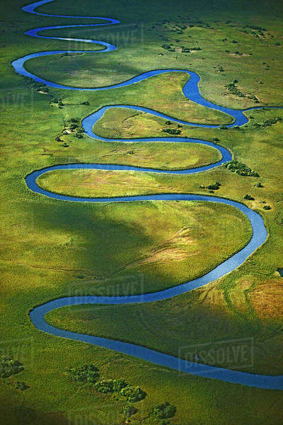 Meandering Okavango River (aerial), Botswana Rights-managed stock photo