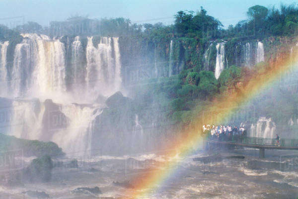 Rainbow over waterfalls, Iguacu National Park, Brazil Rights-managed stock photo