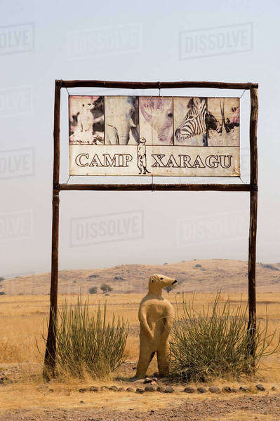 Camp Xaragu tourist lodge entrance sign, Uibasen Conservancy, Damaraland, Namibia Rights-managed stock photo