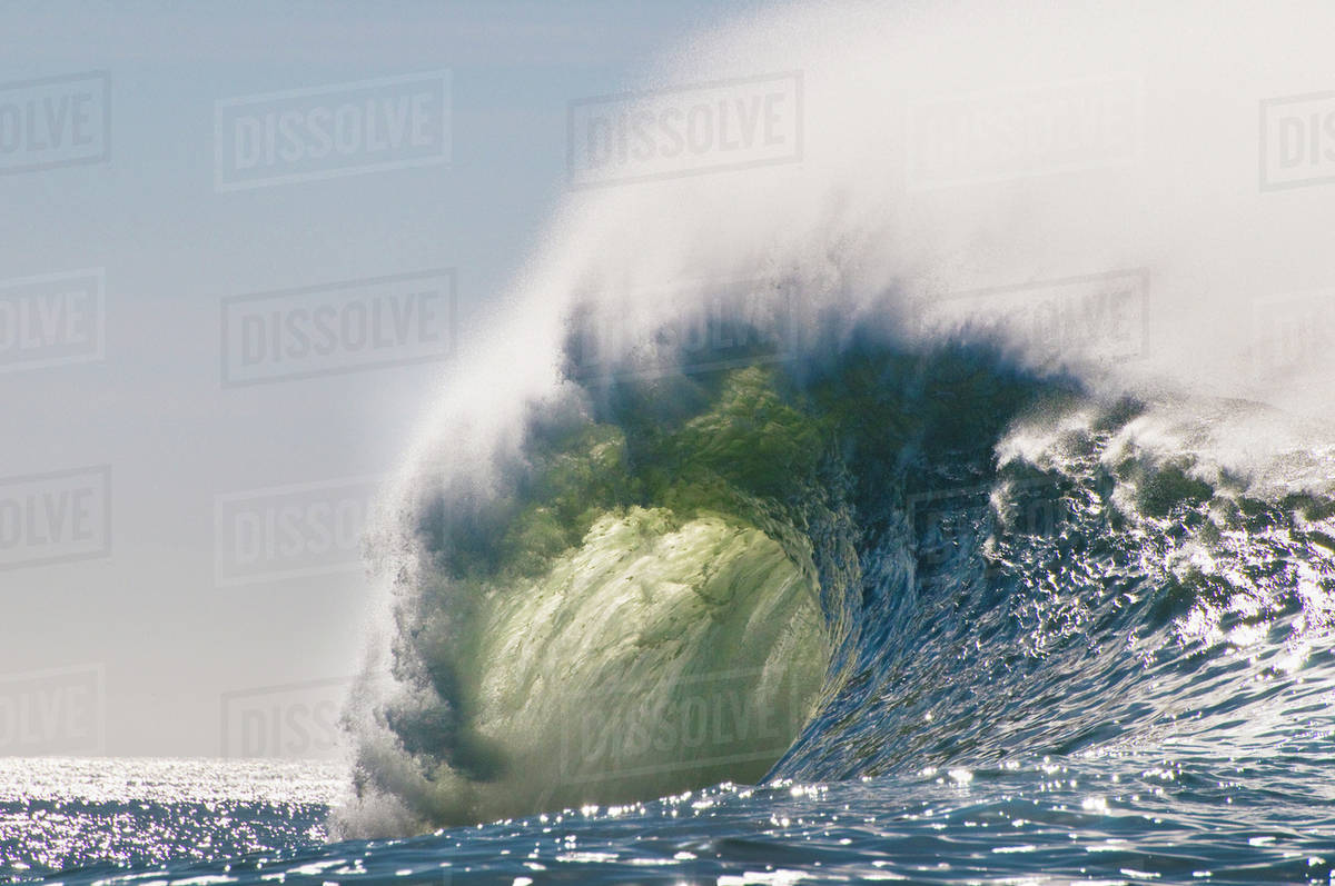 Wave breaking, Mavericks, Monterey Bay, California stock photo