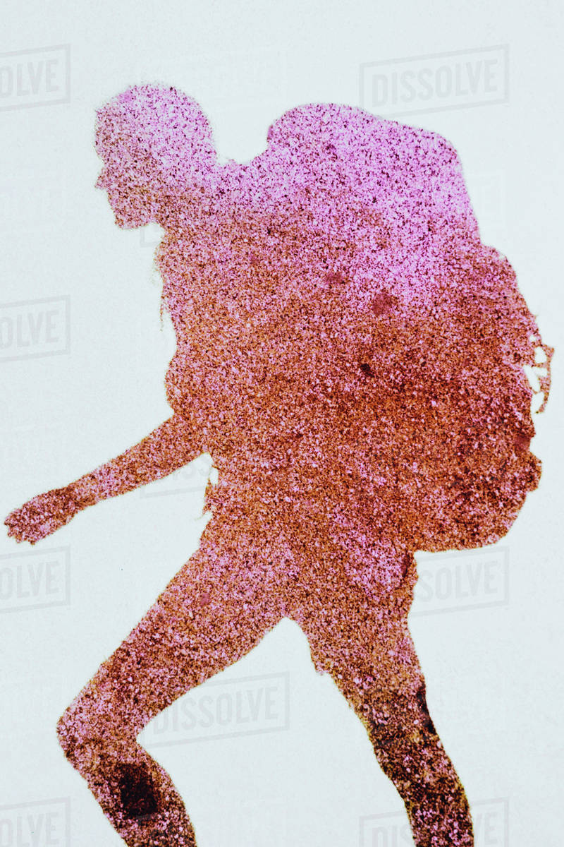 The Outline Of A Human Body A Shadow Against A Plain Background A
