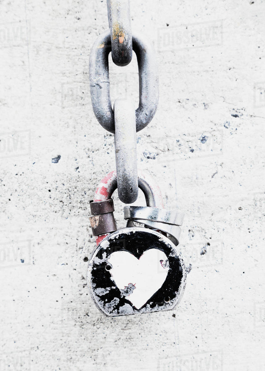 Decorated Lock And Chain On A Wall A Symbol Of A Bond Of Affection