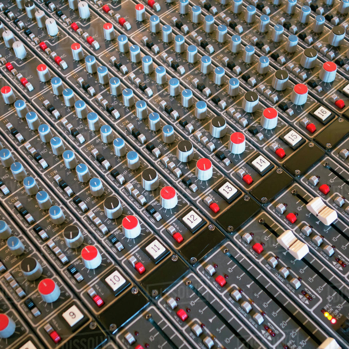 Soundboard in recording studio, Seattle, Washington stock photo